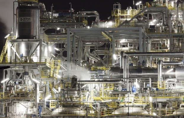 Chemical plant at night, Wloclawek, Poland